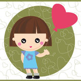 Girl with balloon. Illustration of little girl with red balloon Royalty Free Stock Photos