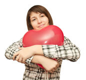 Girl with balloon in the form of heart Royalty Free Stock Image