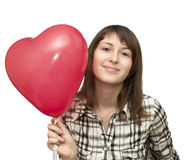 Girl with balloon in the form of heart Stock Photos