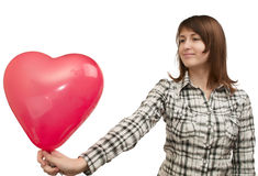Girl with balloon in the form of heart Stock Photo