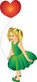Girl with a balloon in a green dress Stock Photography
