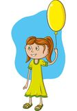 Girl with balloon. Girl in green dress with yellow balloon. Vector character Royalty Free Stock Photography