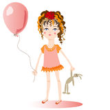The girl with a balloon. The girl holds a balloon in a hand. The girl holds a balloon in a hand. Square  illustration Royalty Free Stock Images