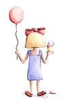 Girl with balloon and ice cream Royalty Free Stock Images