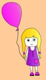 Girl with balloon illustration Royalty Free Stock Photos