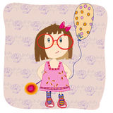 Girl with a balloon. And sweet candy Royalty Free Stock Photos