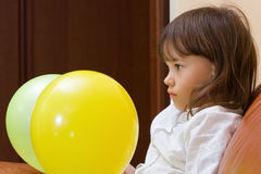 The girl with balloons. stock images