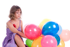 Girl with balloons Royalty Free Stock Image