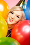 Girl and balloons Royalty Free Stock Photography