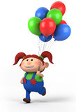 Girl with balloons. Red-haired girl with balloons; high quality 3d illustration Stock Images