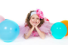 The girl with balloons Royalty Free Stock Image