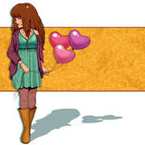 Girl with balloons. Girl holding heart shaped balloons over a grungy background Royalty Free Stock Image