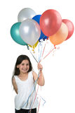 Girl and balloons. Girl holding balloons isolated on white Stock Photo