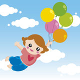 girl with balloons vector illustration