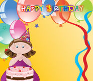 Girl with balloons,birthday congratulations. Card with the image of girls, balls, cake and place for congratulations Stock Image
