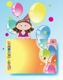 Girl with balloons,birthday congratulations. Royalty Free Stock Photo