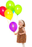 Girl with balloons colored. Stock Photo