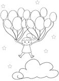 Girl with balloons coloring page Stock Photography