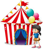 A girl with balloons in front of the circus tent Stock Photography