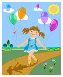 Girl with balloons royalty free illustration