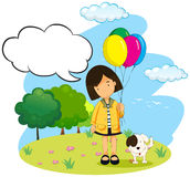 Girl with balloons and her pet dog Stock Photography
