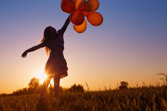 Girl with balloons  outdoor Stock Photos