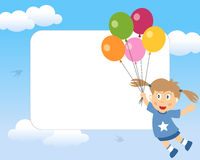 Girl with Balloons Photo Frame. A funny cartoon photo frame with a happy girl flying in a blue sky with balloons. Eps file available Stock Images