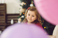 Girl among Balloons Royalty Free Stock Photo