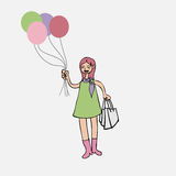 Girl with balloons and shopping bags Stock Images
