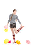 Girl With Baloons Stock Images