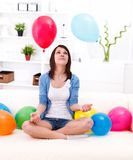 Girl with baloons Royalty Free Stock Photography