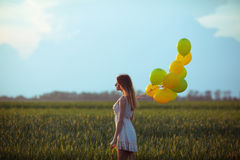Girl with baloons. Young beautiful girl with baloons in the field royalty free stock photos