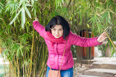 Girl and bamboo Royalty Free Stock Photography