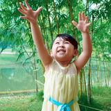 Girl in the bamboo grove Royalty Free Stock Photos