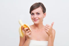 Girl with banana. Stock Photo