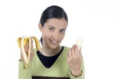 Girl with banana Royalty Free Stock Photography