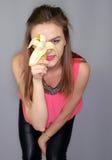 Girl with banana Royalty Free Stock Photo