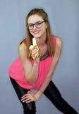 Girl with banana Royalty Free Stock Photos