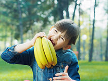 Girl with banana Stock Photo