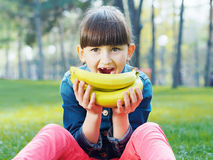 Girl with banana Stock Photos