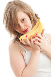 Girl with bananas. Beautiful young woman with bananas Royalty Free Stock Image