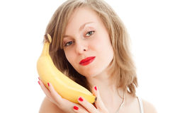 Girl with bananas. Beautiful young woman with bananas Stock Image