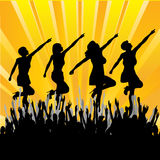 Girl Band. Background illustration with a girl band dancing and miming to a cheering audience Royalty Free Stock Photos