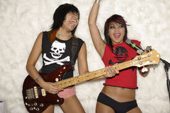Girl band. Two Girls band in a band stock photo