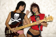 Girl band. Two Girls band in a band stock images