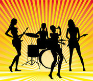 Girl band. Silhouettes on bright background Stock Photos