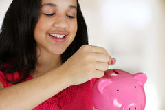 Girl With Bank Royalty Free Stock Photos