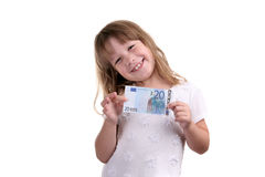 The girl with banknote in hands. On a white background Stock Images