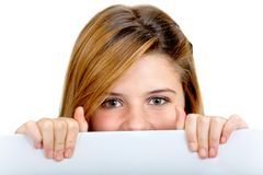 Girl with a banner Stock Image