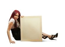 Girl   with banner. Sexy girl in black dress with banner isolated over white with clipping path Stock Photo